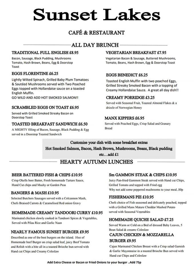 Sunset Lakes Isle of Man new Autumn menu, served from tomorrow at 9.30am. What would you choose......